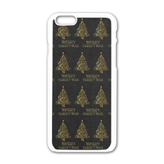 Merry Christmas Tree Typography Black And Gold Festive Apple Iphone 6/6s White Enamel Case by yoursparklingshop