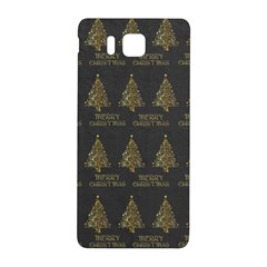 Merry Christmas Tree Typography Black And Gold Festive Samsung Galaxy Alpha Hardshell Back Case by yoursparklingshop