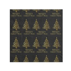 Merry Christmas Tree Typography Black And Gold Festive Small Satin Scarf (square) by yoursparklingshop