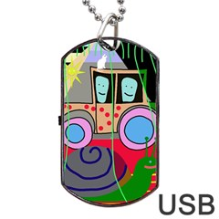 Tractor Dog Tag Usb Flash (one Side) by Valentinaart