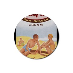 Vintage Summer Sunscreen Advertisement Rubber Round Coaster (4 Pack)  by yoursparklingshop