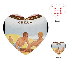 Vintage Summer Sunscreen Advertisement Playing Cards (heart)  by yoursparklingshop