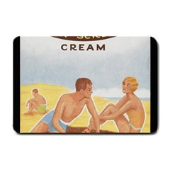 Vintage Summer Sunscreen Advertisement Small Doormat  by yoursparklingshop