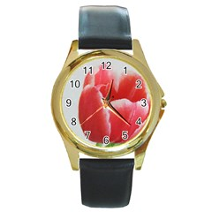 Red Tulip Watercolor Painting Round Gold Metal Watch by picsaspassion