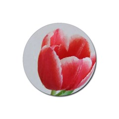 Red Tulip Watercolor Painting Rubber Round Coaster (4 Pack)  by picsaspassion