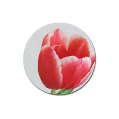Red Tulip Watercolor Painting Magnet 3  (round)