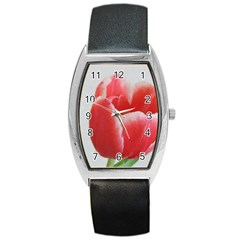 Red Tulip Watercolor Painting Barrel Style Metal Watch by picsaspassion