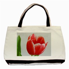 Red Tulip Watercolor Painting Basic Tote Bag by picsaspassion