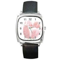 Red Tulip Pencil Drawing Square Metal Watch by picsaspassion