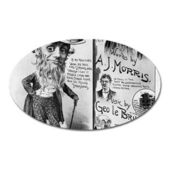 Vintage Song Sheet Lyrics Black White Typography Oval Magnet by yoursparklingshop