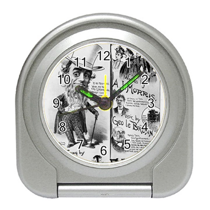 Vintage Song Sheet Lyrics Black White Typography Travel Alarm Clocks