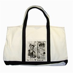Vintage Song Sheet Lyrics Black White Typography Two Tone Tote Bag by yoursparklingshop