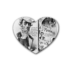 Vintage Song Sheet Lyrics Black White Typography Heart Coaster (4 Pack)  by yoursparklingshop