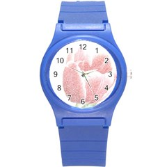 Red Tulip Pencil Drawing Round Plastic Sport Watch (s) by picsaspassion