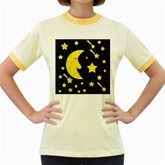 Sleeping Moon Women s Fitted Ringer T Shirts by Valentinaart