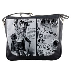 Vintage Song Sheet Lyrics Black White Typography Messenger Bags by yoursparklingshop