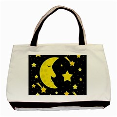 Sleeping Moon Basic Tote Bag (two Sides) by Valentinaart
