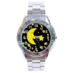Sleeping Moon Stainless Steel Analogue Watch by Valentinaart