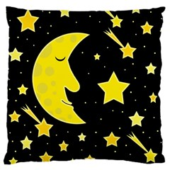 Sleeping Moon Large Cushion Case (one Side) by Valentinaart