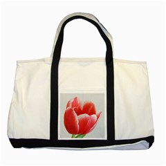 Tulip Red Watercolor Painting Two Tone Tote Bag by picsaspassion
