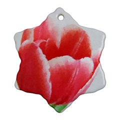 Tulip Red Watercolor Painting Ornament (snowflake)  by picsaspassion
