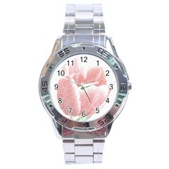 Tulip Red Pencil Drawing Art Stainless Steel Analogue Watch by picsaspassion