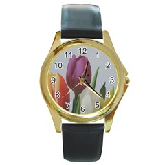 Tulips Round Gold Metal Watch by picsaspassion