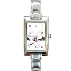 White Magnolia Pencil Drawing Art Rectangle Italian Charm Watch by picsaspassion