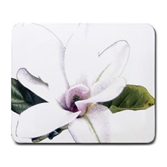 White Magnolia Pencil Drawing Art Large Mousepads by picsaspassion
