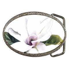 White Magnolia Pencil Drawing Art Belt Buckles by picsaspassion