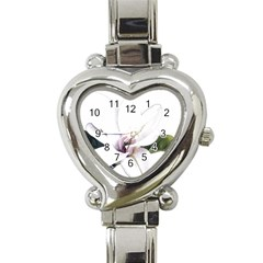 White Magnolia Pencil Drawing Art Heart Italian Charm Watch by picsaspassion