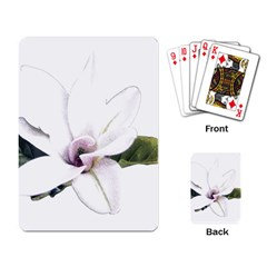 White Magnolia Pencil Drawing Art Playing Card by picsaspassion