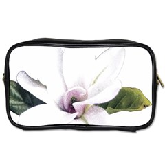 White Magnolia Pencil Drawing Art Toiletries Bags by picsaspassion