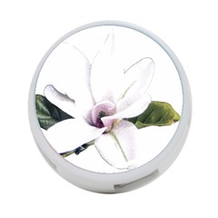 White Magnolia Pencil Drawing Art 4 Port Usb Hub (one Side)
