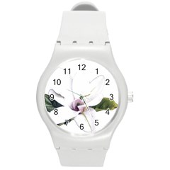 White Magnolia Pencil Drawing Art Round Plastic Sport Watch (m) by picsaspassion