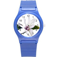 Magnolia Wit Aquarel Painting Art Round Plastic Sport Watch (s) by picsaspassion