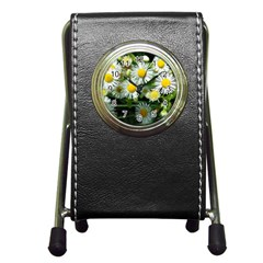 White Summer Flowers Oil Painting Art Pen Holder Desk Clocks by picsaspassion