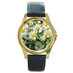 White Summer Flowers Watercolor Painting Art Round Gold Metal Watch by picsaspassion