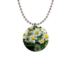 White Summer Flowers Watercolor Painting Art Button Necklaces