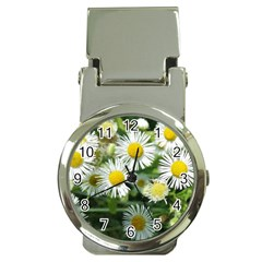 White Summer Flowers Watercolor Painting Art Money Clip Watches by picsaspassion
