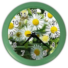 White Summer Flowers Watercolor Painting Art Color Wall Clocks