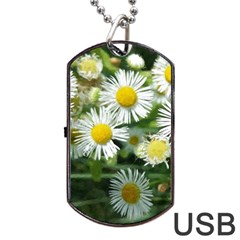 White Summer Flowers Watercolor Painting Art Dog Tag Usb Flash (two Sides)