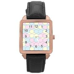 Colorful Honeycomb   Diamond Pattern Rose Gold Leather Watch  by picsaspassion