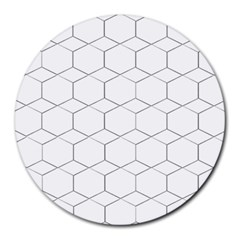 Honeycomb   Diamond Black And White Pattern Round Mousepads by picsaspassion