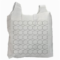 Honeycomb   Diamond Black And White Pattern Recycle Bag (two Side)  by picsaspassion