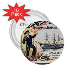 Vintage Advertisement British Navy Marine Typography 2 25  Buttons (10 Pack)  by yoursparklingshop