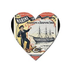 Vintage Advertisement British Navy Marine Typography Heart Magnet by yoursparklingshop