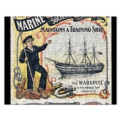 Vintage Advertisement British Navy Marine Typography Rectangular Jigsaw Puzzl by yoursparklingshop
