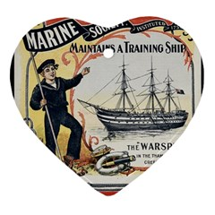 Vintage Advertisement British Navy Marine Typography Heart Ornament (2 Sides) by yoursparklingshop