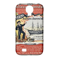 Vintage Advertisement British Navy Marine Typography Samsung Galaxy S4 Classic Hardshell Case (pc+silicone)